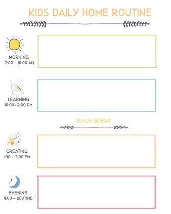 Routine for Learning at Home & Daily Schedules