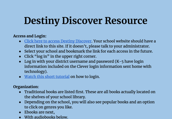 Destiny Discover Resource Guide