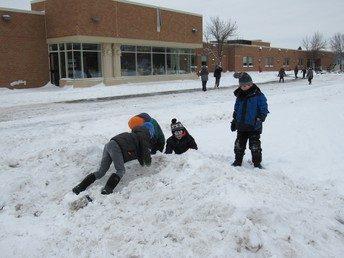 Second graders enjoyed the snow when we returned to school after the Polar Vortex.