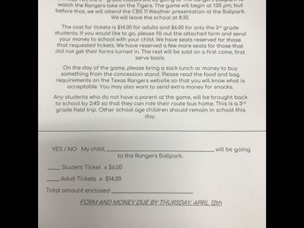 Note and Permission Slip for the Game!