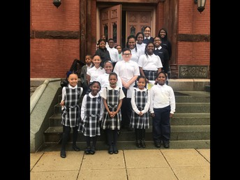 Lower Mills Student Ambassadors proudly welcome parishioners to the 10am Mass!