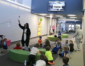 Grandview kindergarten students practice site words with fun characters