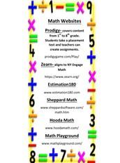 Math Websites Bookmark