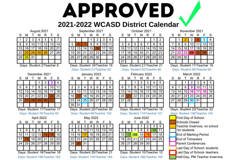 2021-2022 School Board Approved Calendar