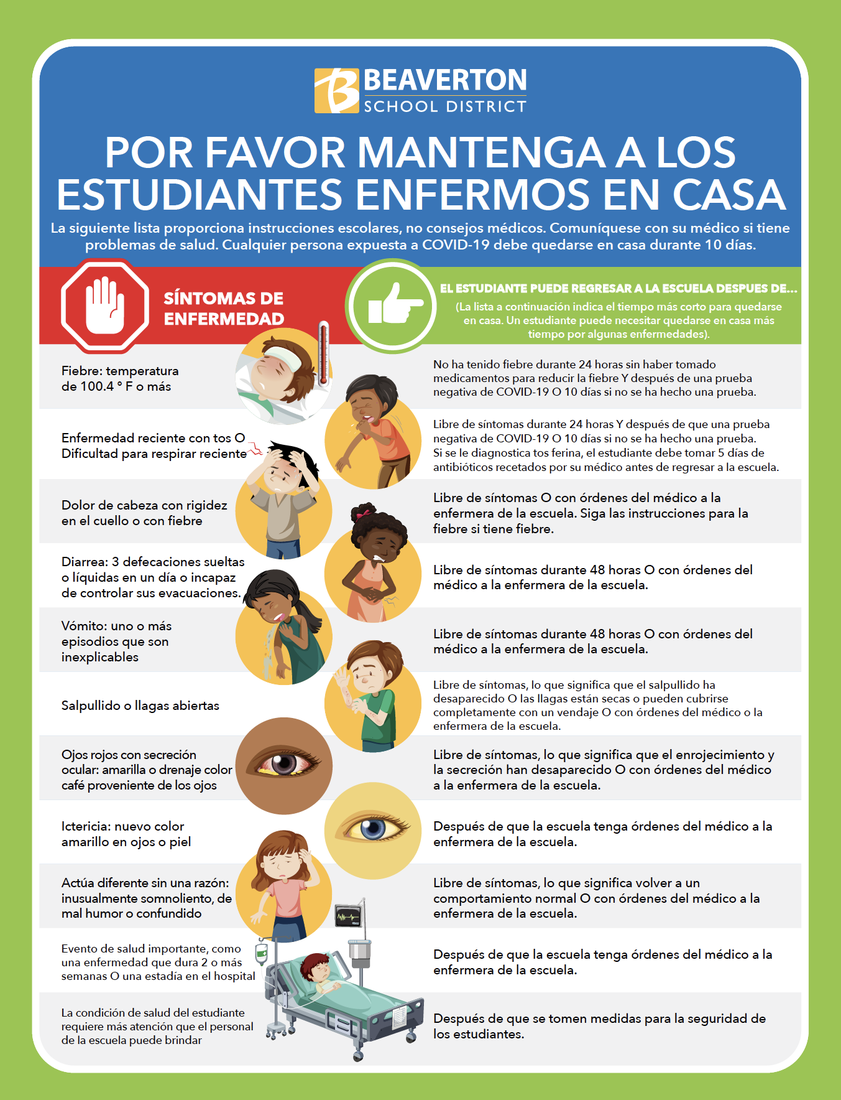 keep ill students home (Spanish)