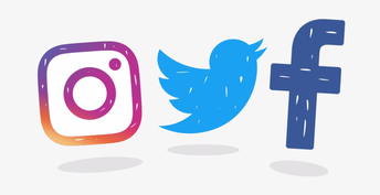 Logos for Instagram, twitter and facebook