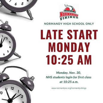 Reminder - Late Start for NHS Monday, Nov. 30