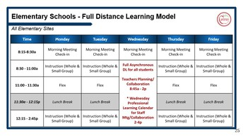 Distance Learning Calendar