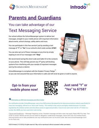 School Messenger SMS/Text Messages