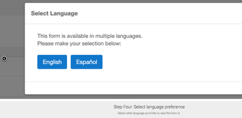 Step Four: Select language preference