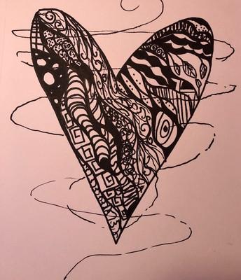 Black and white zen tangle heart
