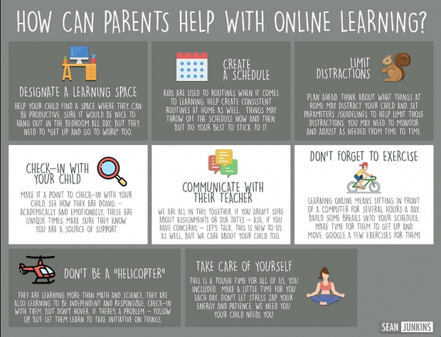 picture of parent resource flyer to help students with online learning