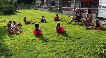 2nd graders learning outside