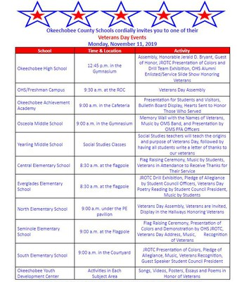 All Veterans Day Programs
