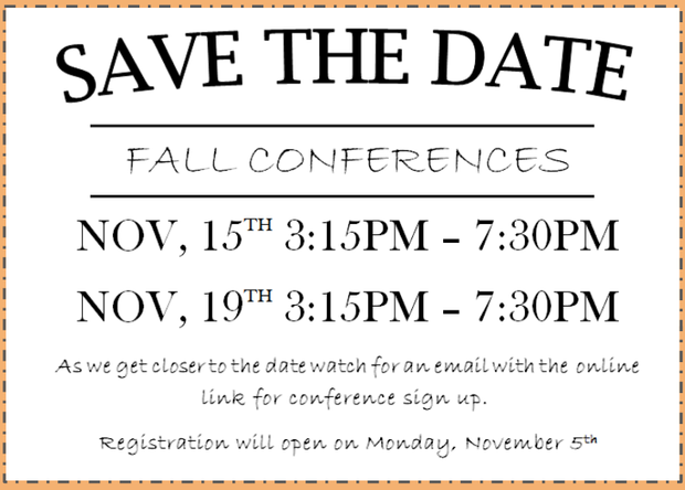 Save the date for fall conferences