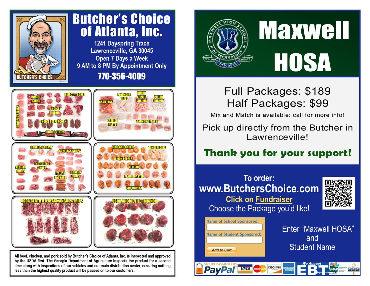 HOSA fundraiser of selling different cuts of meats.  Link to store provided.