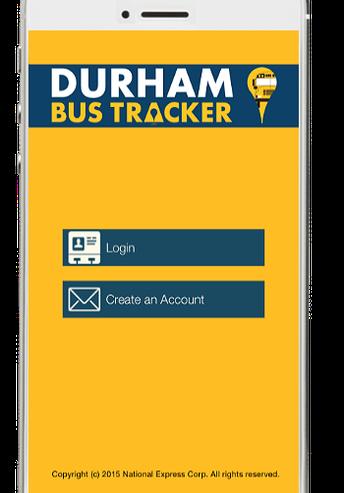 Durham Bus Tracker app displayed on phone