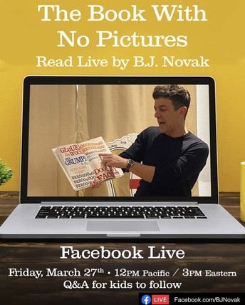 The Book With No Pictures is on Facebook Live this Friday at noon!