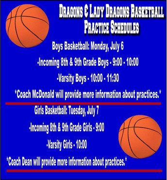 Dragons and Lady Dragons Basketball Practice Schedules