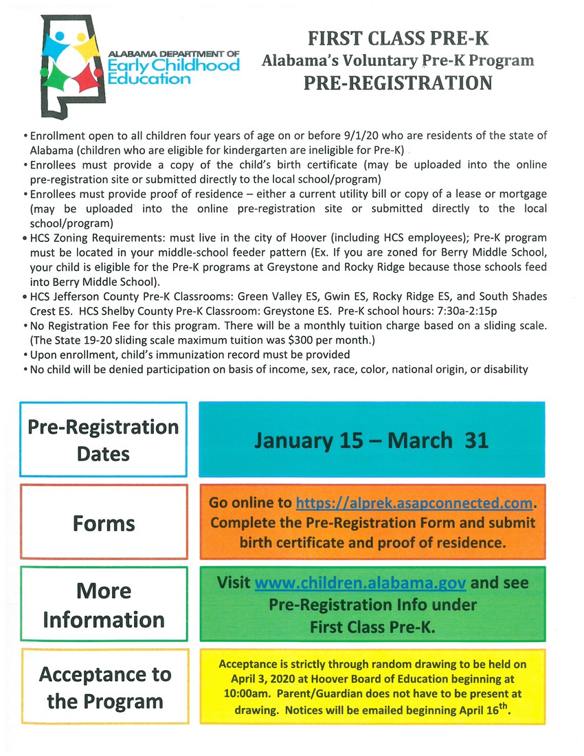 PreK registration is now through March 31st.  Go to the Hoover Website for more information.