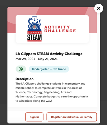 LA Clippers STEAM Activity Challenge (Through May 21)