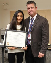 Congratulations to Vaidehi Patel, recognized during November's Board of Education meeting: