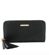 Mercer Zip Wallet - Black Basket Weave