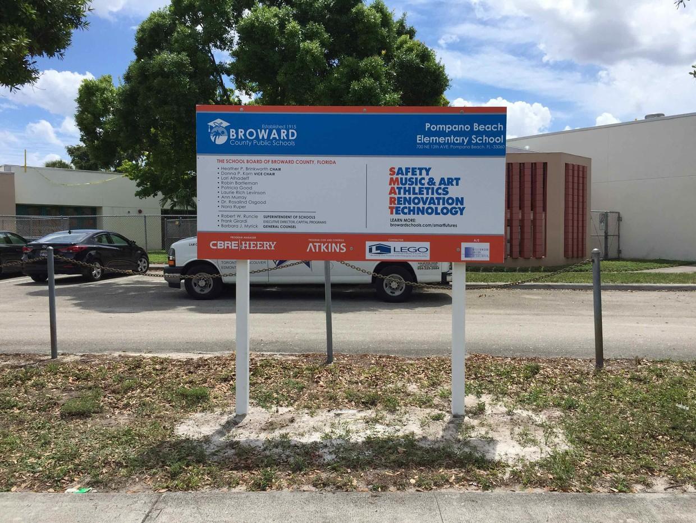Construction sign for Pompano Beach Elementary School
