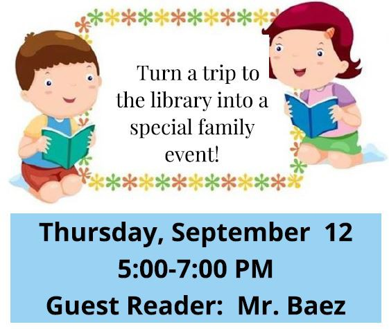 Boy and girl reading a book. Turn a trip to the library into a special family event! Family Library Night, Thursday, September 12, 5:00-7:00 PM. Guest Reader: Mr. Baez