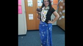 Mrs. Norwood is dressed for our flight to Hawaii!