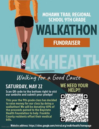 mtrs walkathon flyer saturday may 22 information and QR code