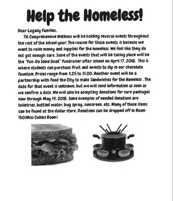 7th grade Service Project-Letter