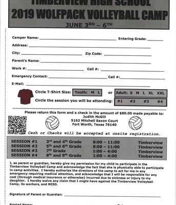 Timberview Wolves Volleyball Camp