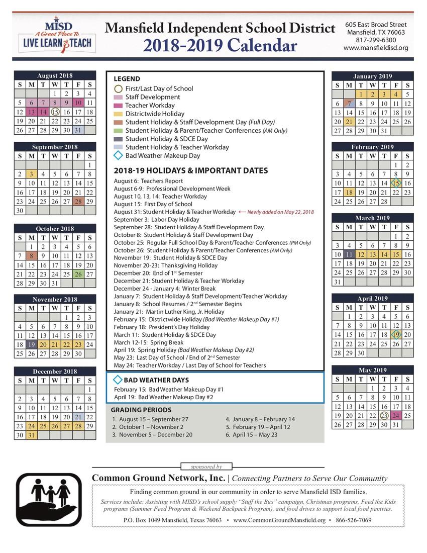 misd school calendar 2019