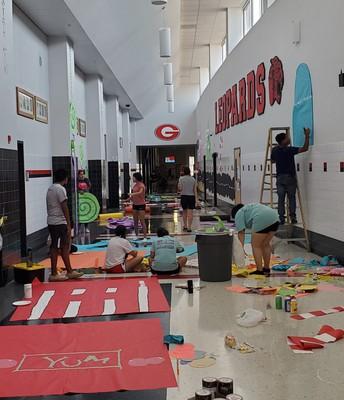 Seniors working on the Main Hall!