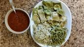 Homemade pasta and ravioli