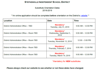 Orientation Dates