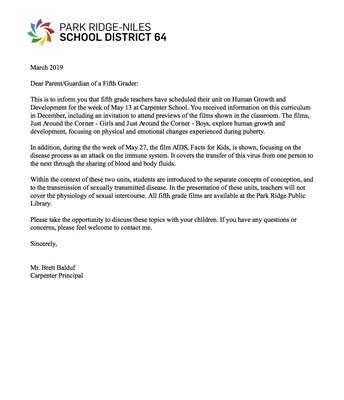 5th Grade Human Growth & Development Letter