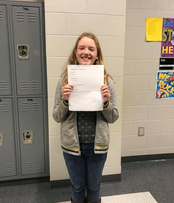 Ashlynne received a positive office referral for always coming into class and getting straight to work. #lmmsrocks 