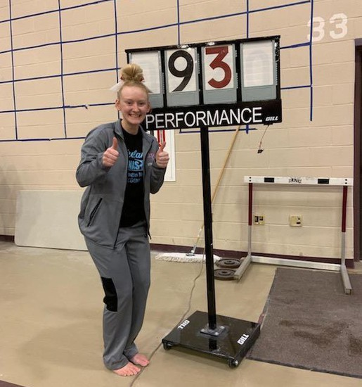 Whittney Ray broke the school record on the balance beam by 500th's of a point with a 9.30 at the Chesterton Invitational on Saturday, January 25, 2019. She placed 4th on the event as well as 4th in the all around among tough state qualifying competition.