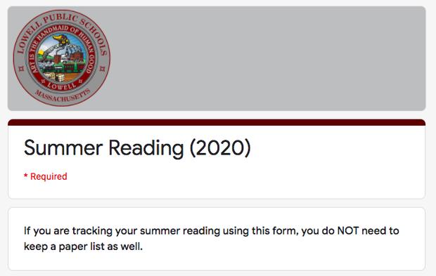 Summer Reading Log!