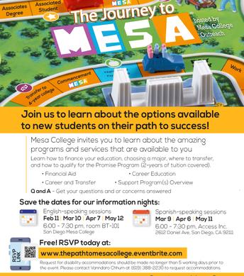 Journey to Mesa College Info Nights
