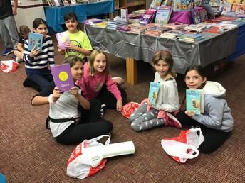 4th graders at the book fair.