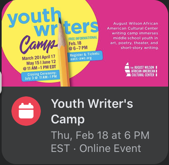 August Wilson African American Cultural Center Youth Writers Camp-Informational Meeting February 18th