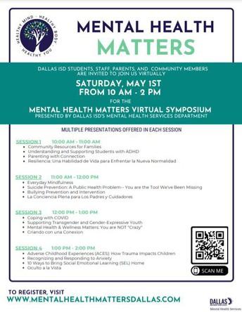 Mental Health Matters Virtual Symposium - May 1st, 10AM-2PM