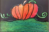 Pumpkin Drawing with warm and cool colors