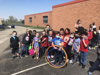 Ms. Holzbaur's Kindergarten shared recess with the principal