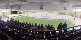 Sophomores in the press box at Northwestern