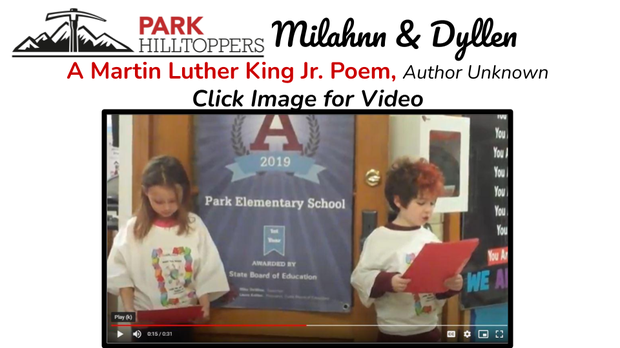Park Elementary 1st Grade Students Reciting a MLK Jr. Poem