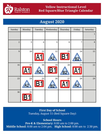 Red Square/Blue Triangle Calendar - August 2020